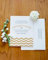 Invitation with Gold Chevron