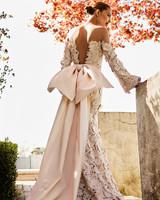 johanna ortiz moda operandi lace bow off the shoulder long sleeves wedding dress