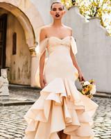 johanna ortiz moda operandi off the shoulder ruffle high low hem wedding dress