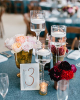 Modern and vintage glass and brass wedding centerpiece
