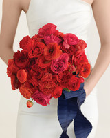 Red Rose and Ranunculus Wedding Bouquet