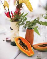 Tiki and Papaya Wedding Centerpiece