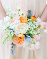 Muted Pastel Bouquet with Ranunculus, Sweet Peas, and Dusty Miller