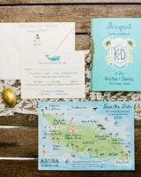 tropical getaway wedding invitation