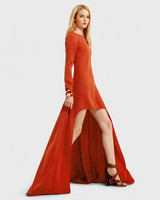 long-sleeve orange gown