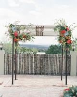 Iron Gate Wedding Arch with Flowers and Succulents