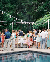 Outdoor Couples Shower Around a Swimming Pool