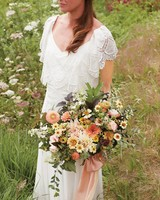 Peach, Yellow, and Green Cascading Bouquet