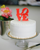 "Wedding Cake with ""LOVE"" Topper"
