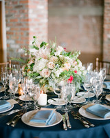 Pink and Green Centerpiece with Candles Underneath