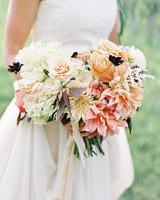 peachy wedding bouquet