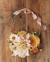 Fresh Flower Necklace with Peach Ribbon