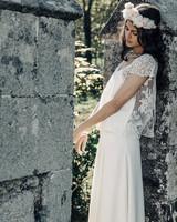 Laure de Sagazan Wedding Dress with lace short sleeve