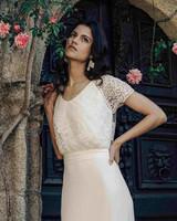 Laure de Sagazan Wedding Dress with lace top