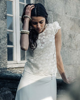 Laure de Sagazan Wedding Dress with lace top and skirt