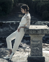 Laure de Sagazan Wedding two piece with pants and lace shirt