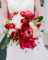 Red and White Bouquet with Ranunculus, Anemones, and Peonies