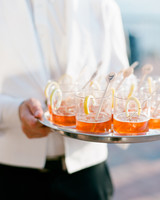 Signature Cocktails with Gold Pom Drink Stirrers