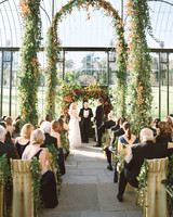 Greenery Wedding Arch with Red and Yellow Flowers