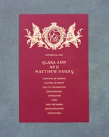Dark Red Wedding Invitations with Gold Lettering