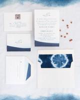 dip-dyed wedding invitation