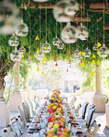Wedding Chandeliers Round Bulbs Over Reception Table