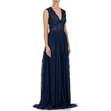 Navy Lace V-Neck Gown