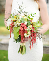 Salmon, Yellow, and Green Wedding Bouquet