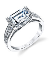 Sylvie Collection Emerald-Cut Engagement Ring