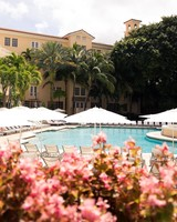 Beautiful outdoor swimming pool and resort for a bachelorette retreat