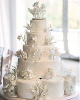 White Wedding Cake with White Edible Flowers