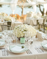 White Arrangement and Sea Glass Candle Centerpiece