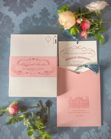 Pink and Cream Grand Budapest Hotel Inspired Bridal Shower Invitations