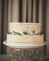 Coconut Wedding Cake with Leaves