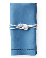 Blue Napkin with Rope Napkin Ring