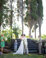 A Green-and-White Luau-Inspired Wedding
