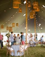 patriotic party tent guests mingle