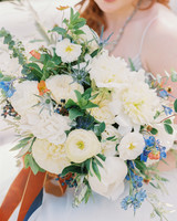 WHite and Blue Bouquet with Ranunculus, Sweet Peas, and Dahlias