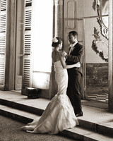 Chrissy Teigen Wearing Strapless Mermaid Wedding Gown