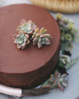 Chocolate Wedding Cake with Succulents