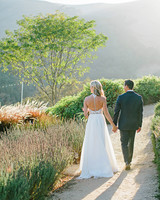 stephanie jared wedding couple on road