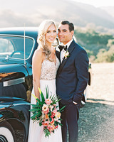 stephanie jared wedding couple by car
