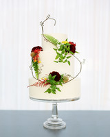 Three Tiered Wedding Cake with Ferns and Burgundy and Orange Flowers62 Fresh Floral Wedding Cakes   Martha Stewart Weddings. Fresh Flower Wedding Cakes. Home Design Ideas