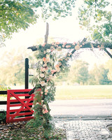 Pink and Peach Wedding Arch with Driftwood