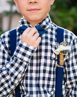 ring bearer boutonniere suspenders