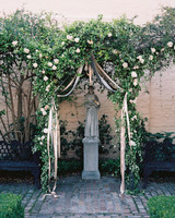 Wedding Arch with Neutral Ribbons