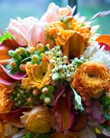 Lush Orange Wedding Bouquet