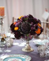 Purple Artichoke Wedding Centerpiece
