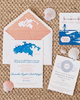 Blue and Orange Island Stationery