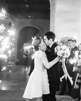 Bride in Short Long-Sleeve Lace Wedding Dress